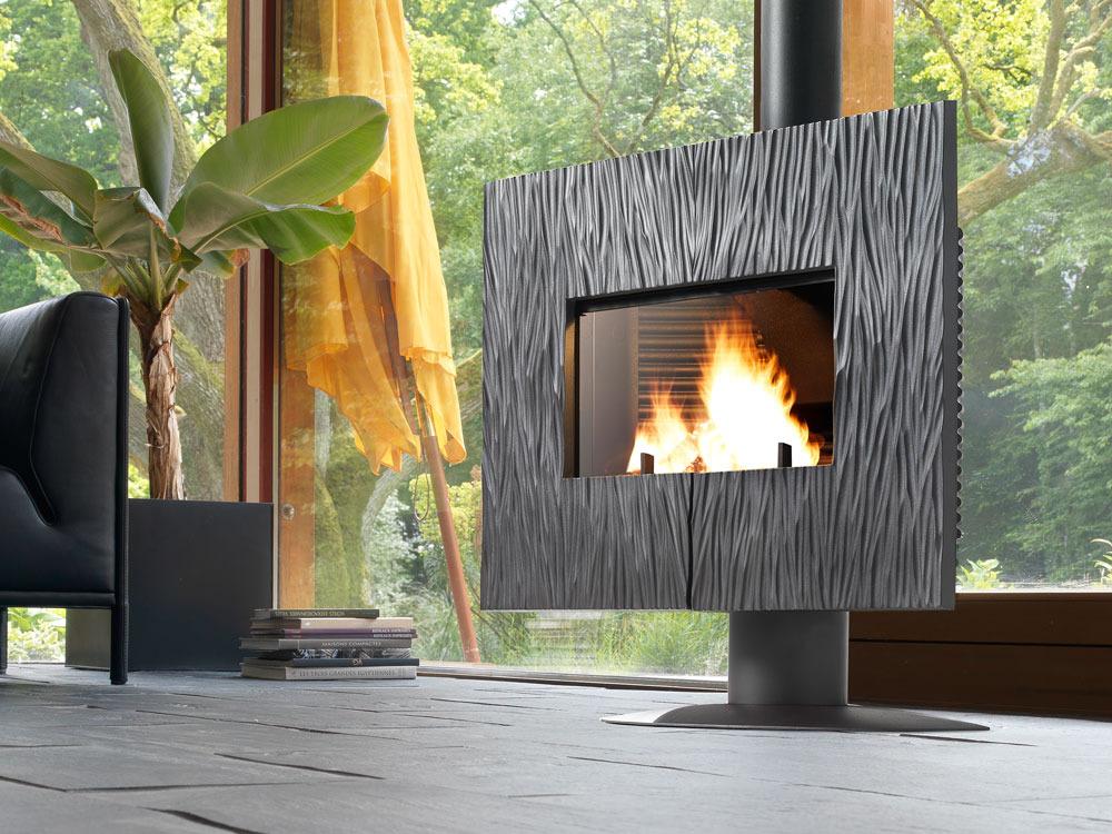 po le bois en fonte gaya ardoise anthracite 36980. Black Bedroom Furniture Sets. Home Design Ideas