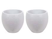 """Pot à fleurs """" Egg"""" - Blanc Cérusé - Ø 50 x 45 cm - lot de 2"""