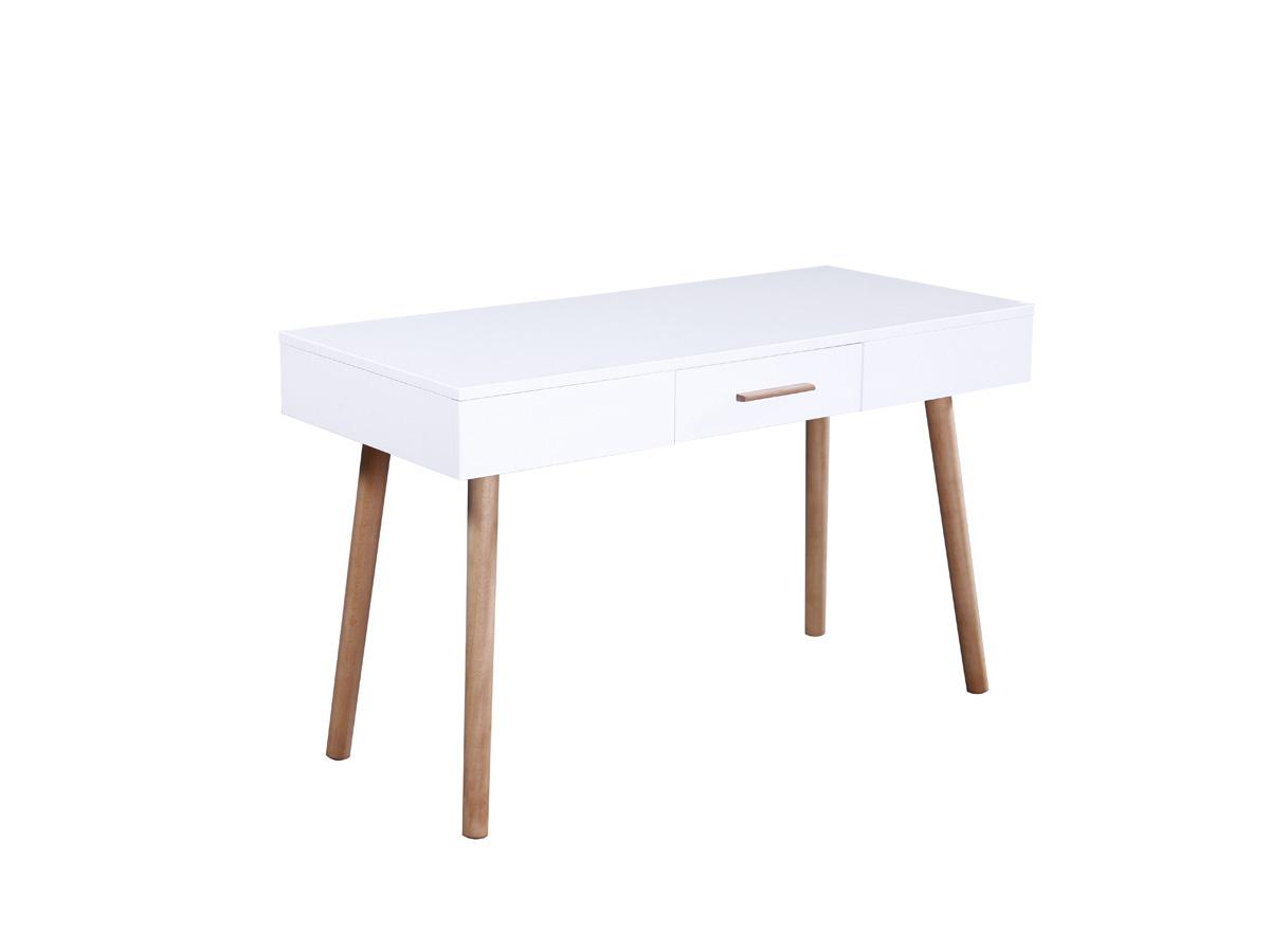 Bureau tommy en mdf laqu blanc 1 tiroir 70107 for Produit bureau