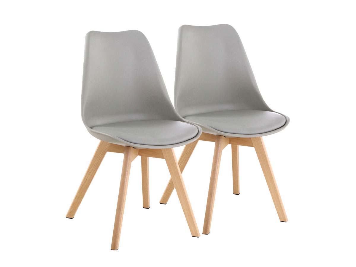lot de 2 chaises emmy gris 70111 70115. Black Bedroom Furniture Sets. Home Design Ideas