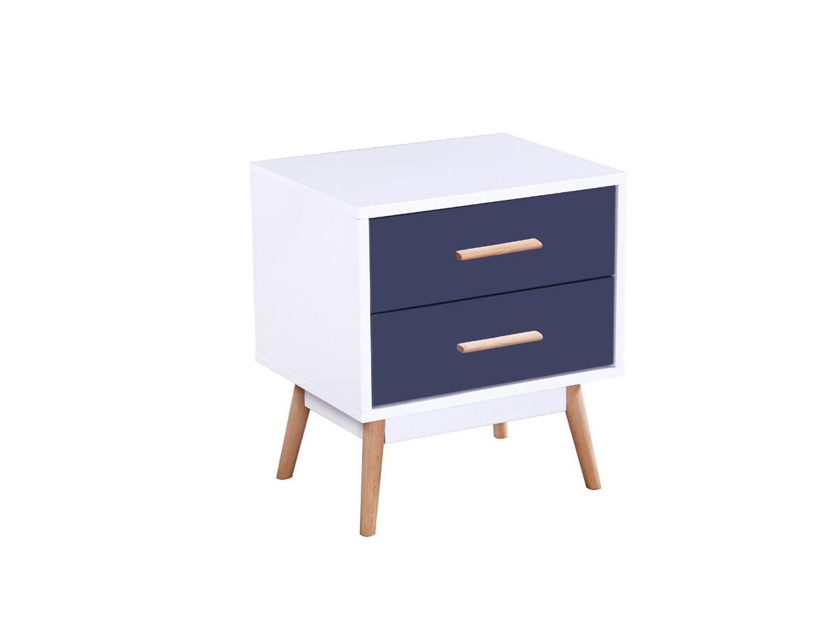 table de chevet jimmy mdf laqu blanc et bleu 70108. Black Bedroom Furniture Sets. Home Design Ideas