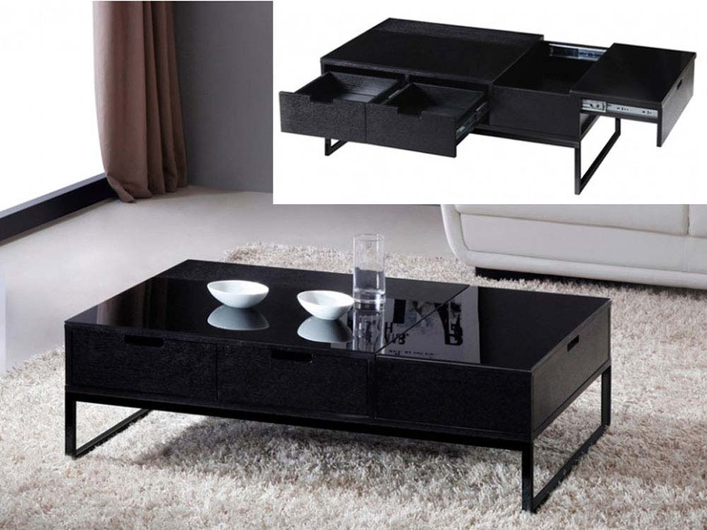 table basse rectangle morio en mdf laqu noir 66638. Black Bedroom Furniture Sets. Home Design Ideas