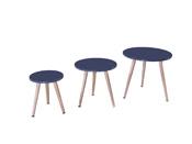 """Lot de 3 tables basses """"Miky"""" - 48 x 48 x 45 cm - Gris"""