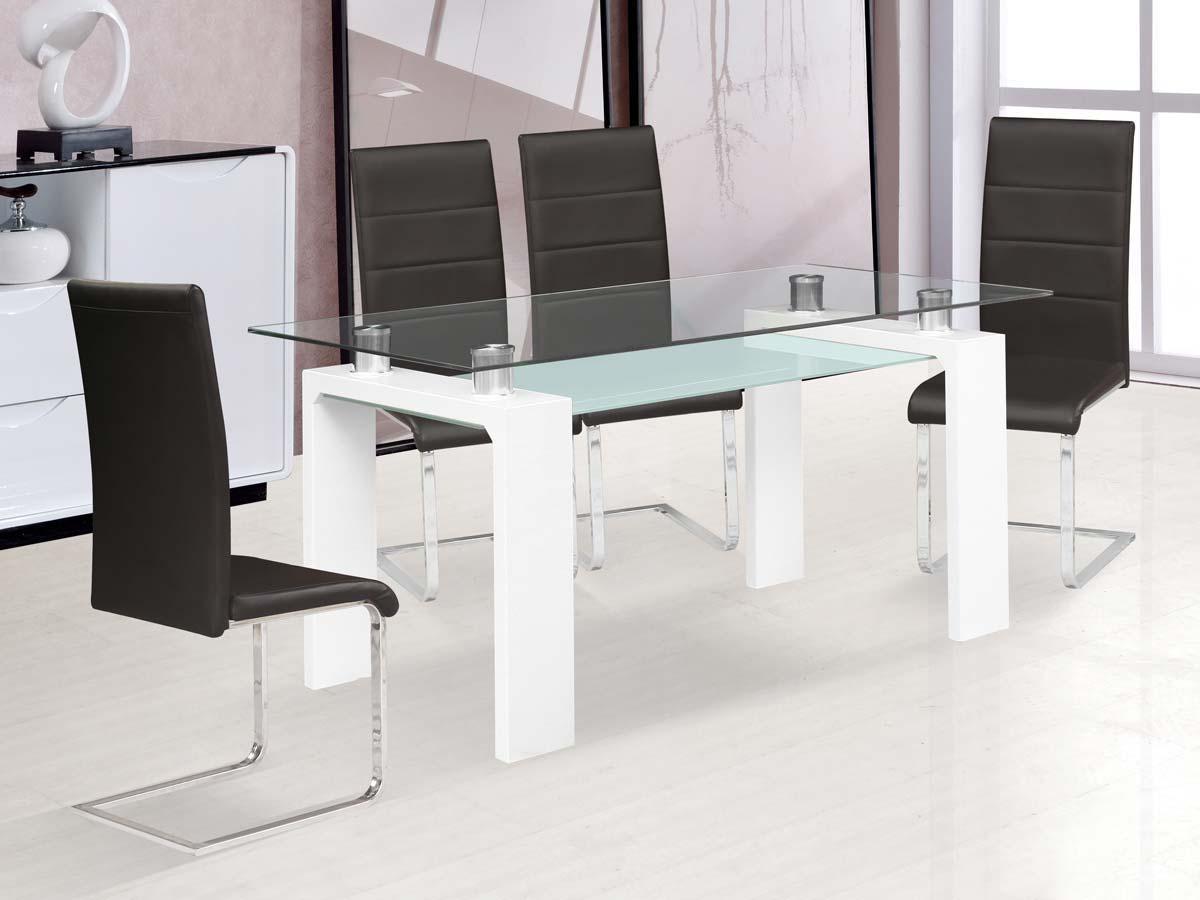 Table repas eva 150 x 80 x 75 cm blanc laqu 86365 86366 for Table cuisine 75 x 75