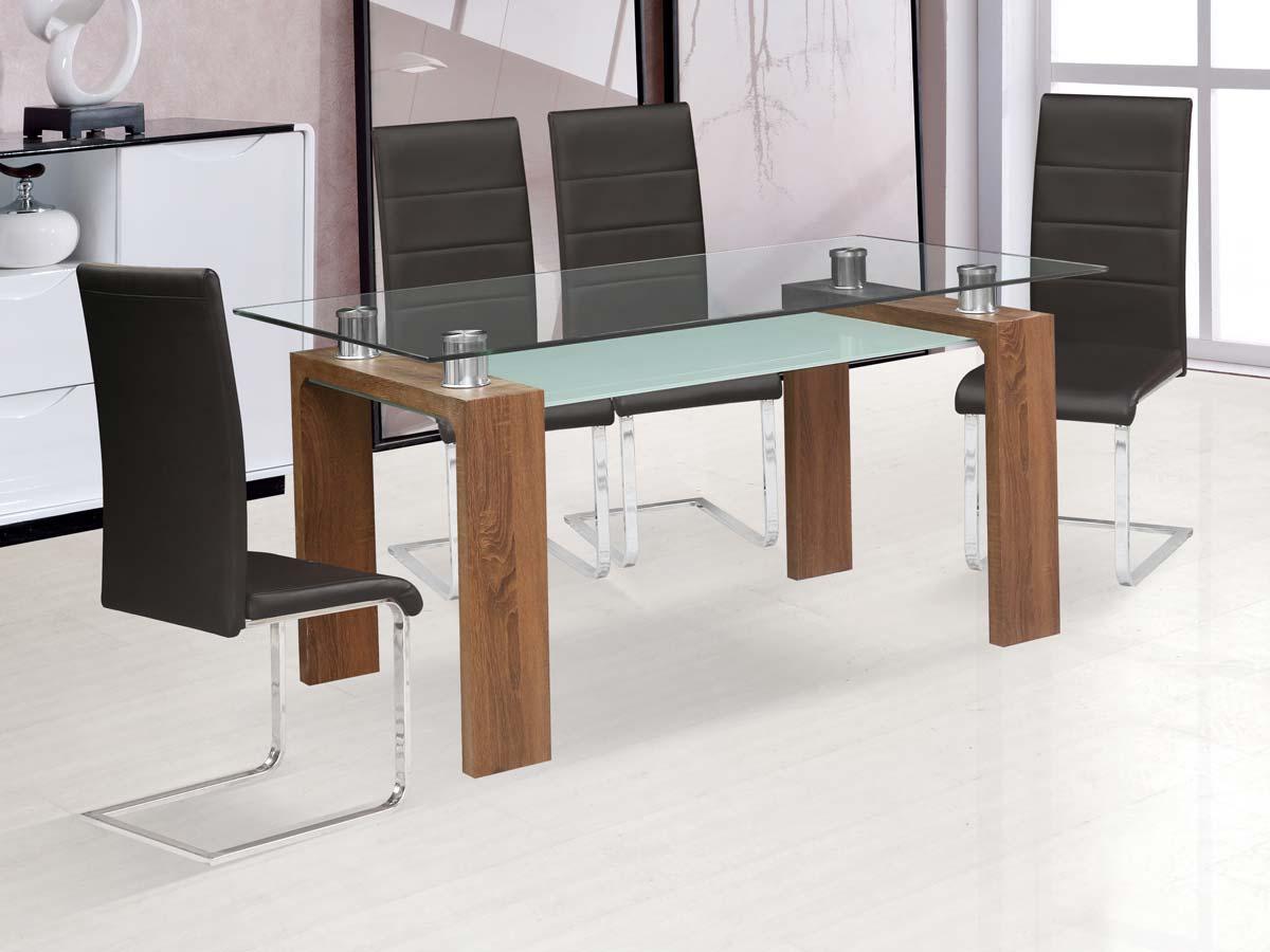Table repas eva 150 x 80 x 75 cm marron laqu 86365 for Table cuisine 75 x 75