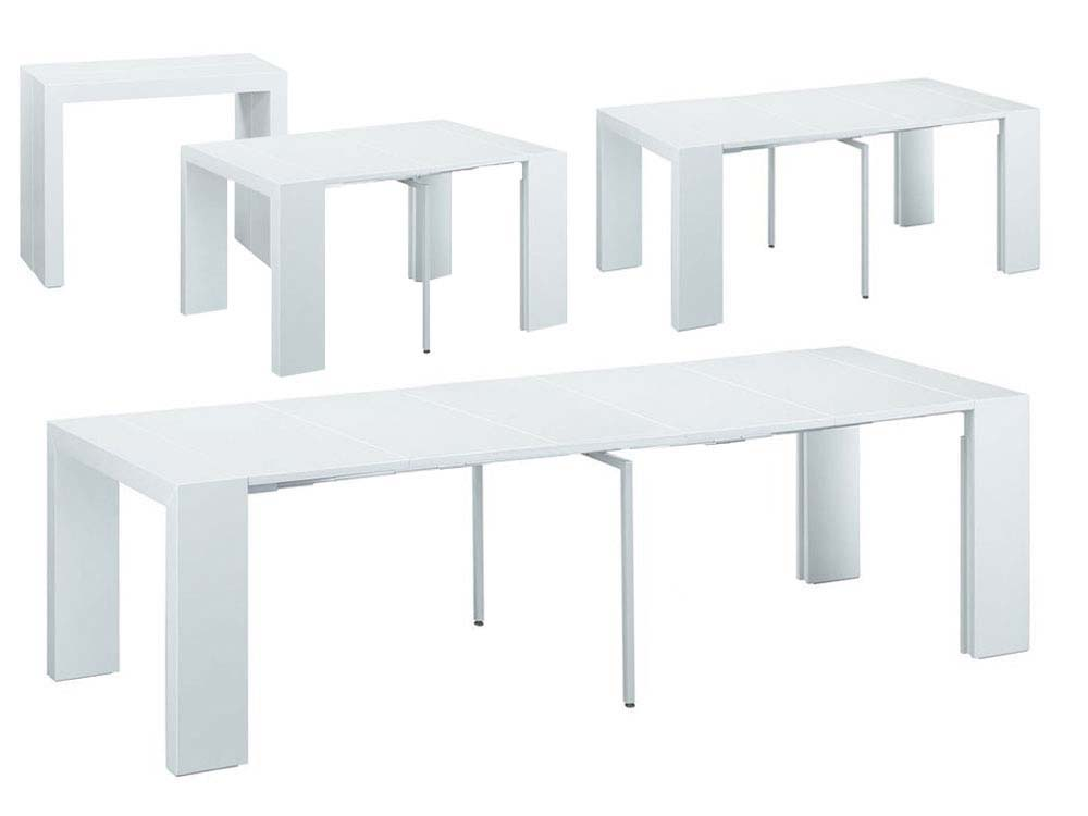 table repas extensible elsa 50300 x 94 x 75 cm blanc - Table Console Extensible Blanc Laque
