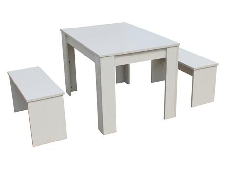 "Table avec 2 bancs ""Tino"" - 110 x 74 x 70 cm - Blanc"