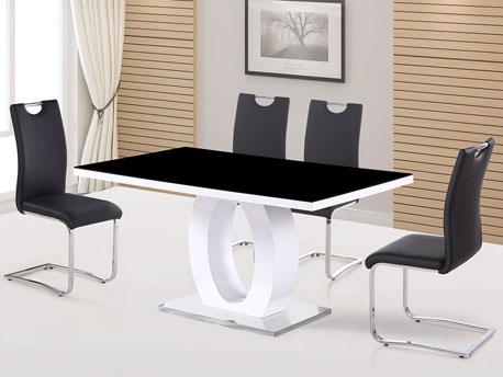 """Table repas rectangulaire """"Lidia"""" - 160 x 90 x 76 cm - Noir/Blanc"""