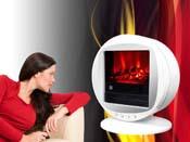 """Cheminée électrique """"Fire bowl"""" blanche - 1000 W ou 2000 W"""