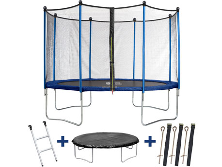 "Trampoline "" Happy "" - Ø 4.25 m - avec filet + échelle + couverture + kit d"