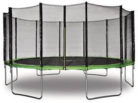 "Trampoline "" Yoopi "" - Ø 4.90 m - Vert - Avec filet + échelle + couverture + kit d"