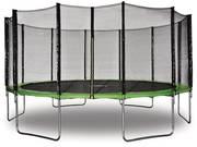 """Trampoline """" Yoopi """" - Ø 4.90 m - Vert - Avec filet + échelle + couverture + kit d'ancrage"""