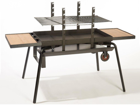 "Barbecue bois ""Feu roulant géant Luxe"" - grille rectangle 87 x 48 cm"
