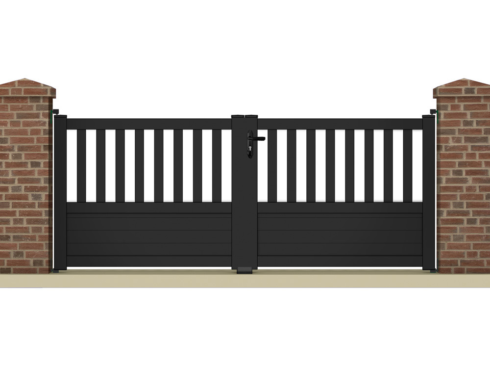 portail battant pluton m aluminium coloris gris anthracite 63296 63302. Black Bedroom Furniture Sets. Home Design Ideas