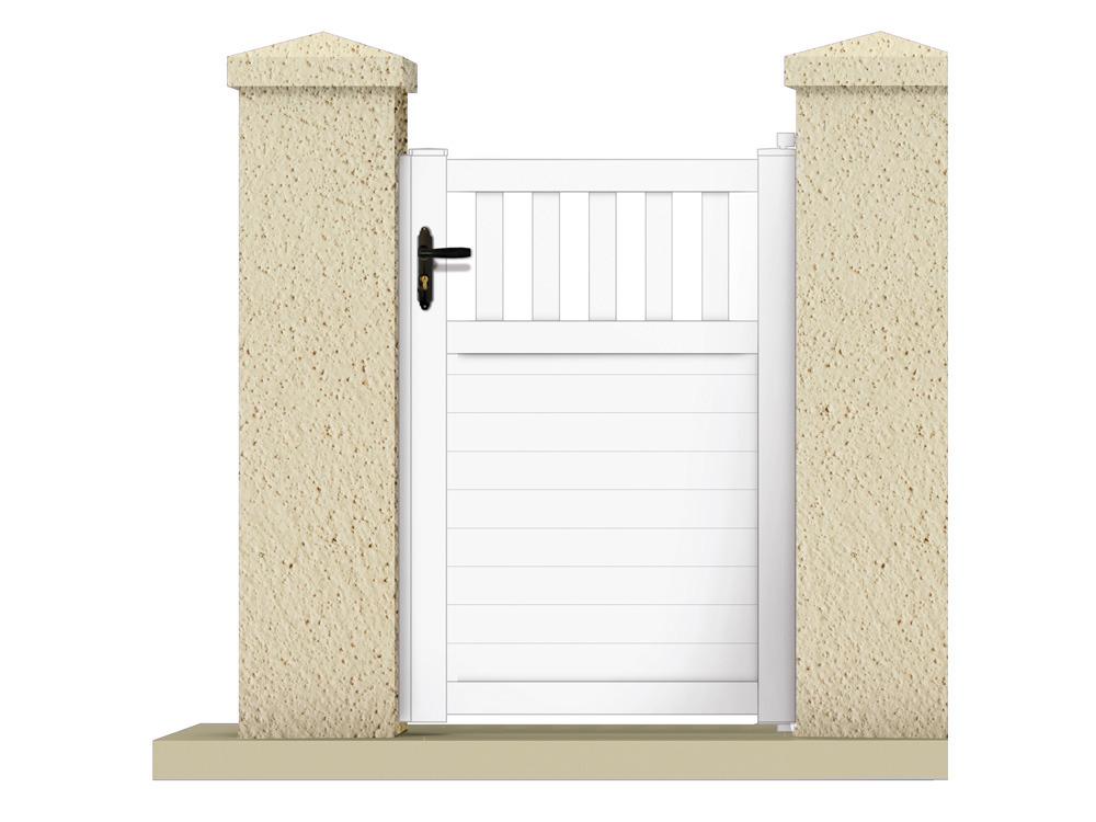 portillon haumea 1 05 m pvc coloris blanc 63310. Black Bedroom Furniture Sets. Home Design Ideas