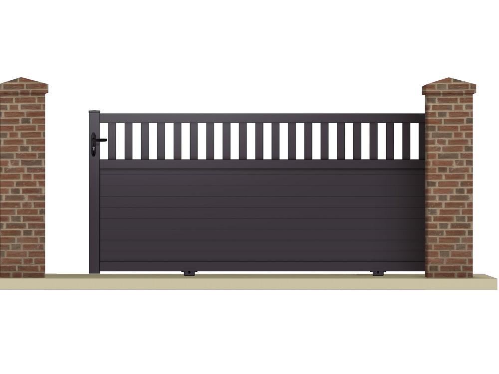 portail coulissant egeon m aluminium coloris gris anthracite 63325 63327. Black Bedroom Furniture Sets. Home Design Ideas