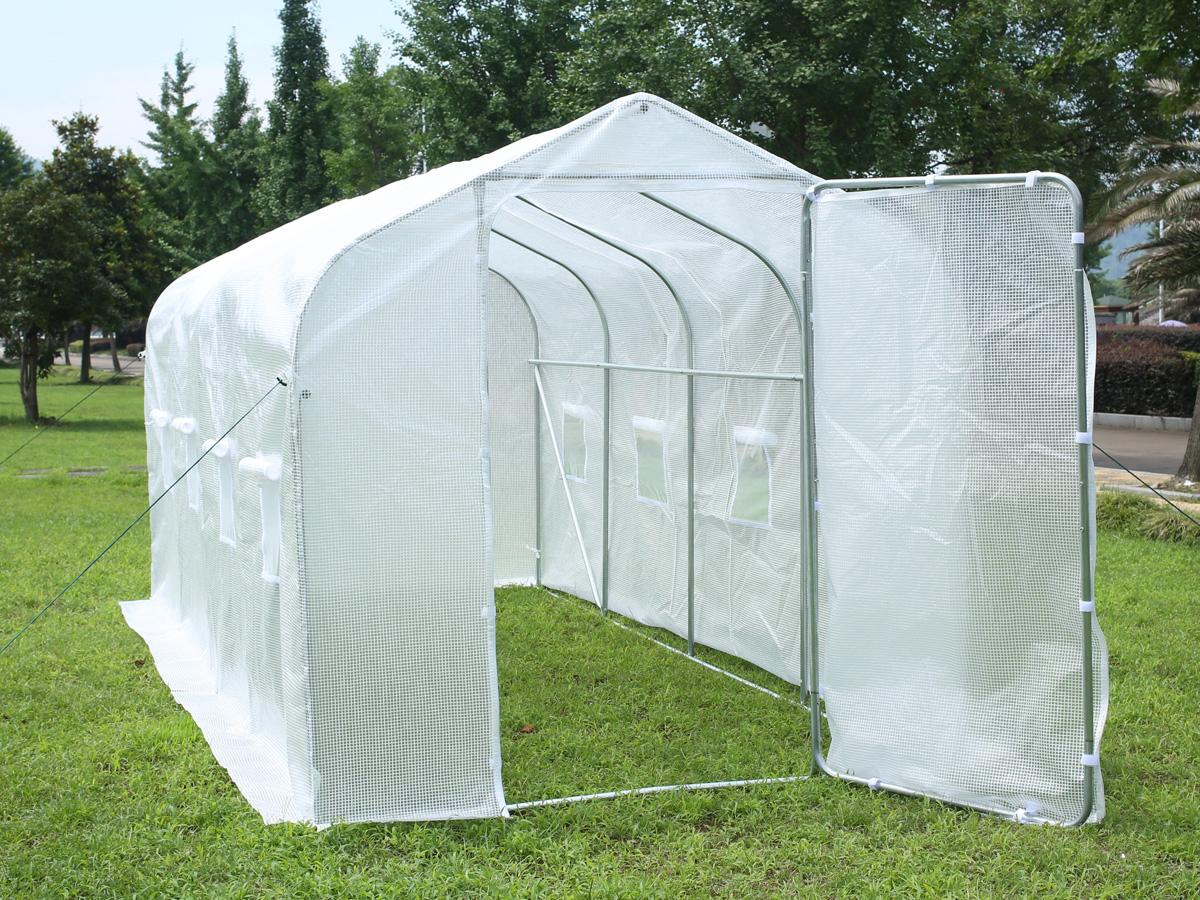 serre tunnel de jardin mimosa 2 blanc 9 m 4 5 x 2 x 2 m 82365 82367. Black Bedroom Furniture Sets. Home Design Ideas