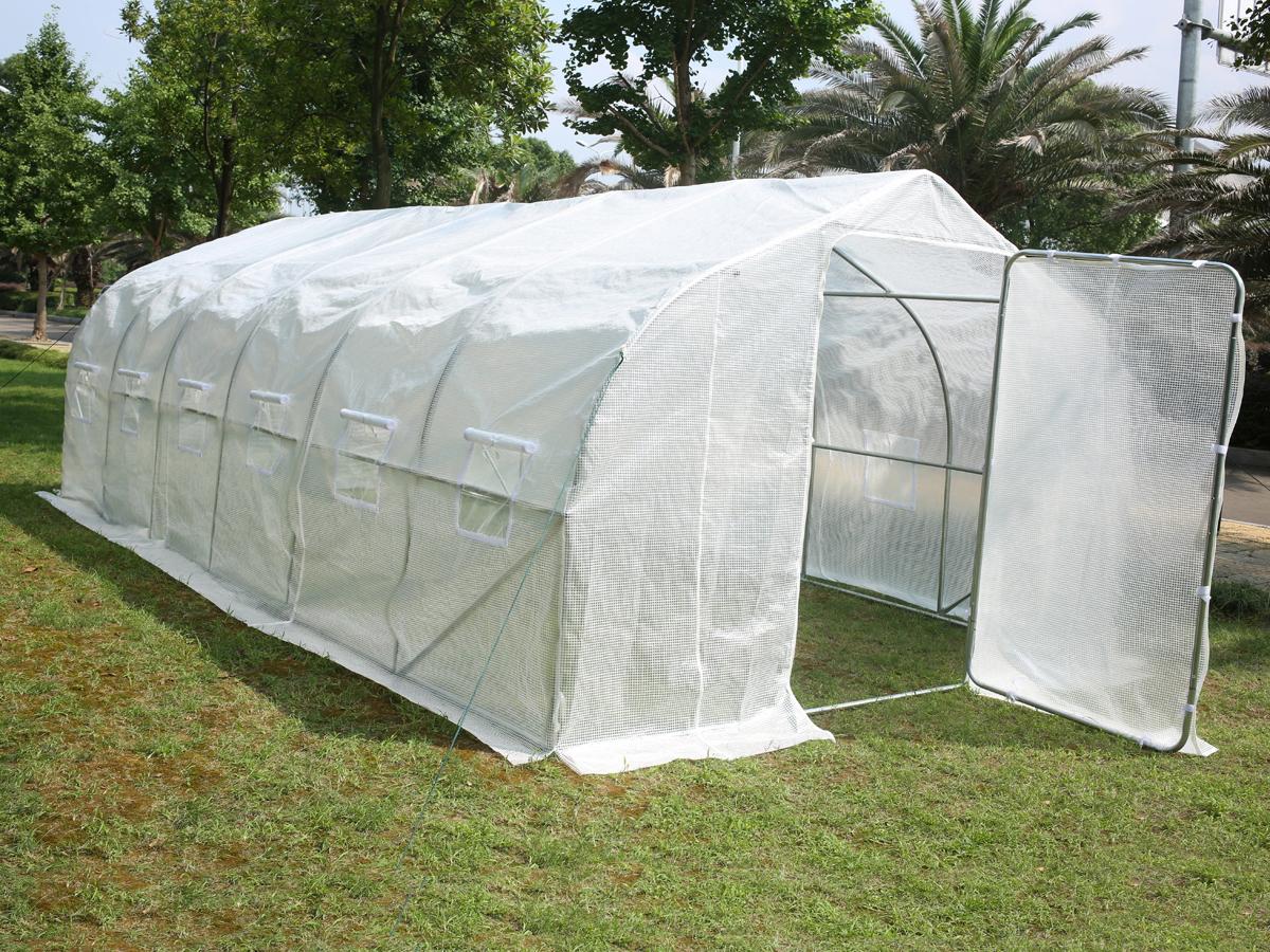 Serre tunnel de jardin mimosa 2 blanc 18 m 6 x 3 - Serre de jardin tunnel 6 x 3 m galvanise ...