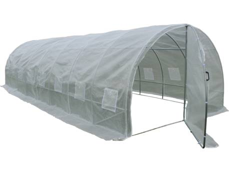 "Serre tunnel de jardin avec porte ""Mimosa"" - 180 g/m² - 24 m² - 8 x 3 x 2 m"