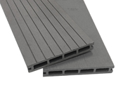 """Lot de 4 m² lames de terrasse gris composite + lambourdes + clips """"Caracas"""" (10 pièces) - 2.9 x 0.14 m"""