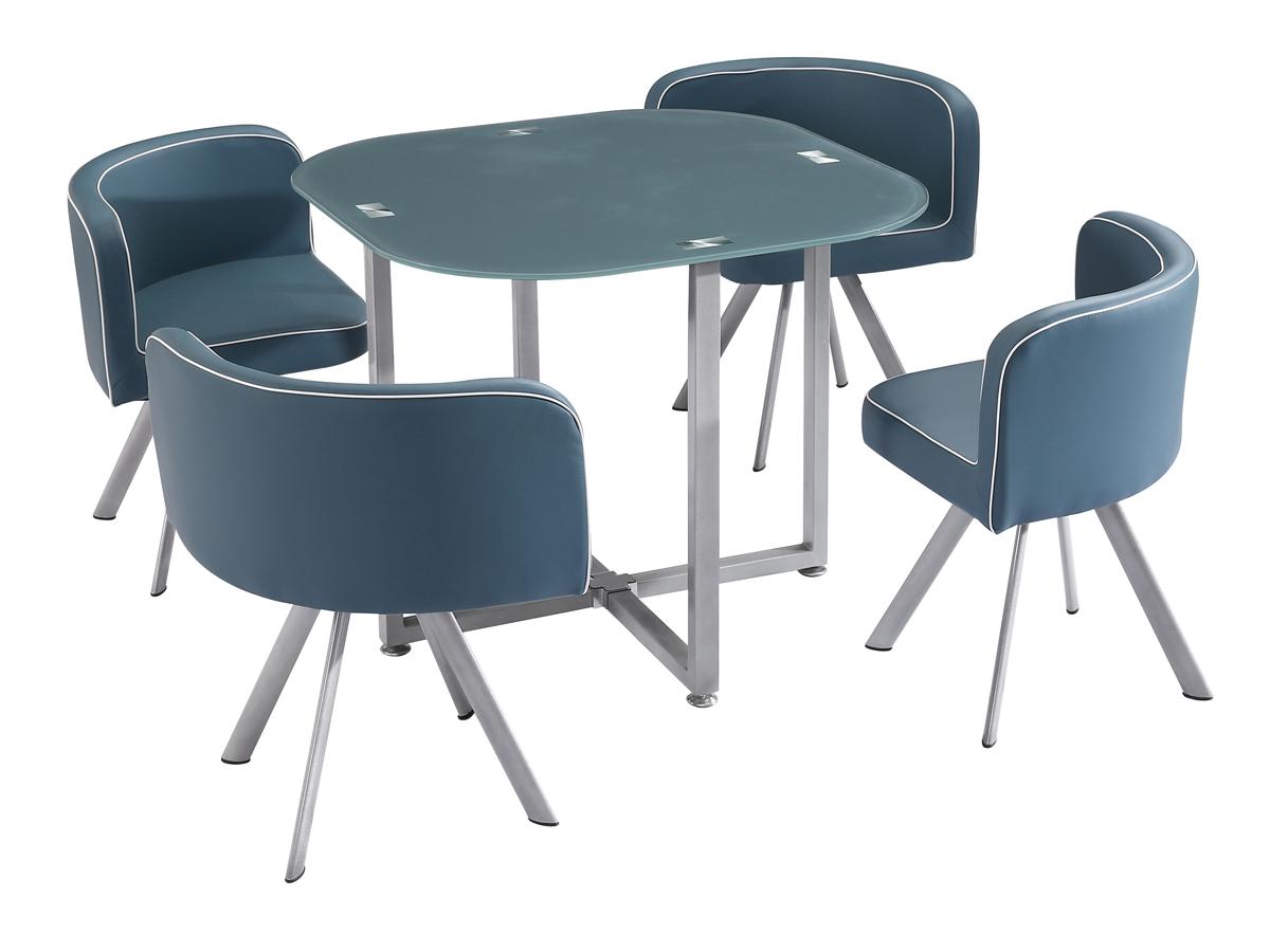 Ensemble table repas Kelly 4 chaises grises