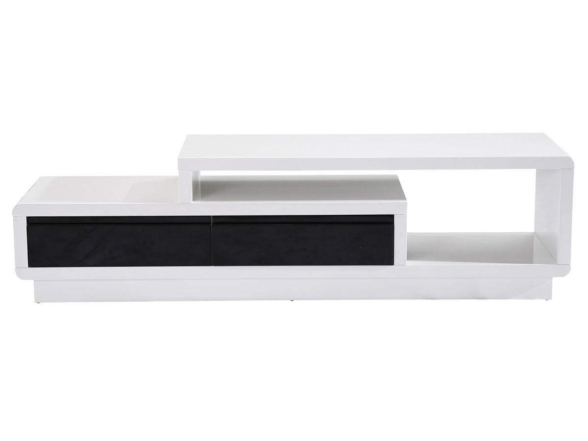 Meuble tv lola 170 x 40 x 46 5 cm blanc noir 69915 for Meuble tv blanc noir