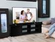 """Meuble TV """"Alicia"""" - 185 x 30 x 42,5 cm - Noir laqué"""