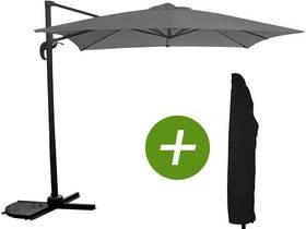 """Parasol jardin déporté """"Soleil"""" - Carré - 2.5 x 2.5 m - Gris + Housse de protection"""