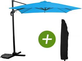 """Parasol jardin déporté """"Soleil"""" - Carré - 2.5 x 2.5 m - Bleu + Housse de protection"""