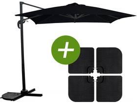 """Parasol jardin déporté """"Soleil"""" - Carré - 2.5 x 2.5 m - Noir + Dalles à lester incluses"""