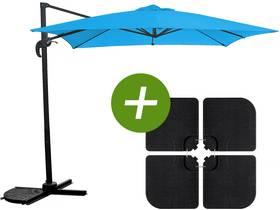 """Parasol jardin déporté """"Soleil"""" - Carré - 2.5 x 2.5 m - Bleu + Dalles à lester incluses"""