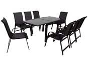 """Salon de Jardin extensible 90/180 """"Porto 8"""" - Phoenix - Noir - 1 Table + 8 Fauteuils"""