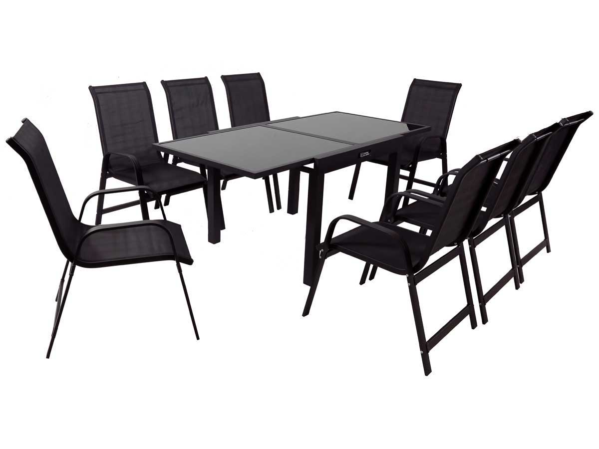 salon de jardin extensible 90 180 porto 8 phoenix noir 1 table 8 fauteuils 88968. Black Bedroom Furniture Sets. Home Design Ideas