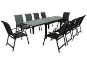 """Salon de Jardin extensible 140/280 """"Porto 10"""" - Phoenix - Noir - 1 Table + 10 Fauteuils"""