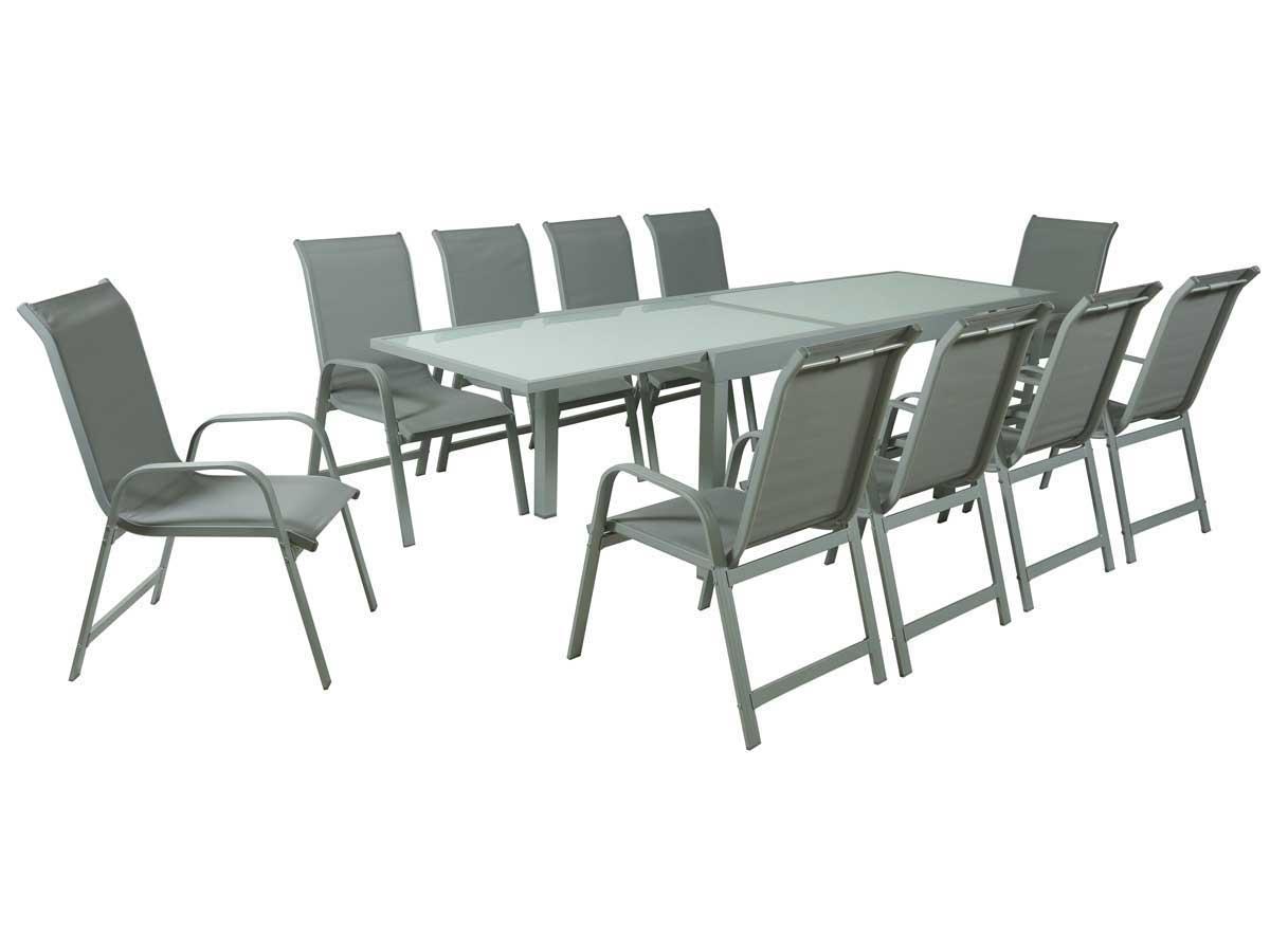 salon de jardin extensible 140 280 porto 10 phoenix argent gris clair 1 table 10. Black Bedroom Furniture Sets. Home Design Ideas