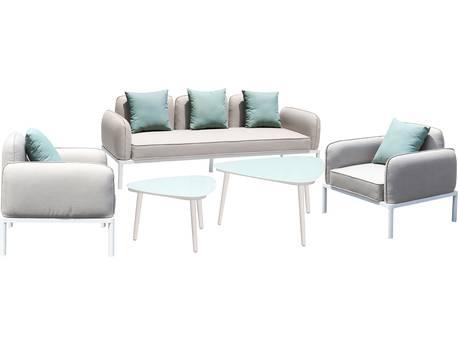 """Salon de jardin en tissu """"Sevilla"""" - 1 canapé 3 places + 1 canapé 2 places + 2 fauteuils + 2 tables basses - Gris"""