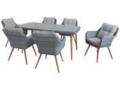 """Salon de jardin résine tressée """"San Vito"""" - Florida - 6 fauteuils + 1 table - Gris"""