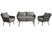 "Salon de jardin en résine tressée ""Olbia"" - 1 canapé + 2 fauteuils + 1 table basse"