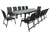 """Salon de Jardin extensible 200/320 """"Porto 12"""" - Phoenix - Noir - 1 Table + 12 Fauteuils"""