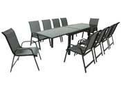 """Salon de Jardin extensible 140/280 """"Porto 10"""" - Phoenix - Noir/Gris foncé - 1 Table + 10 Fauteuils"""