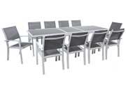 Salon de Jardin extensible 200/260  Tropic 10  - Phoenix - Argent/Gris foncé - 1 Table + 10 Fauteuils