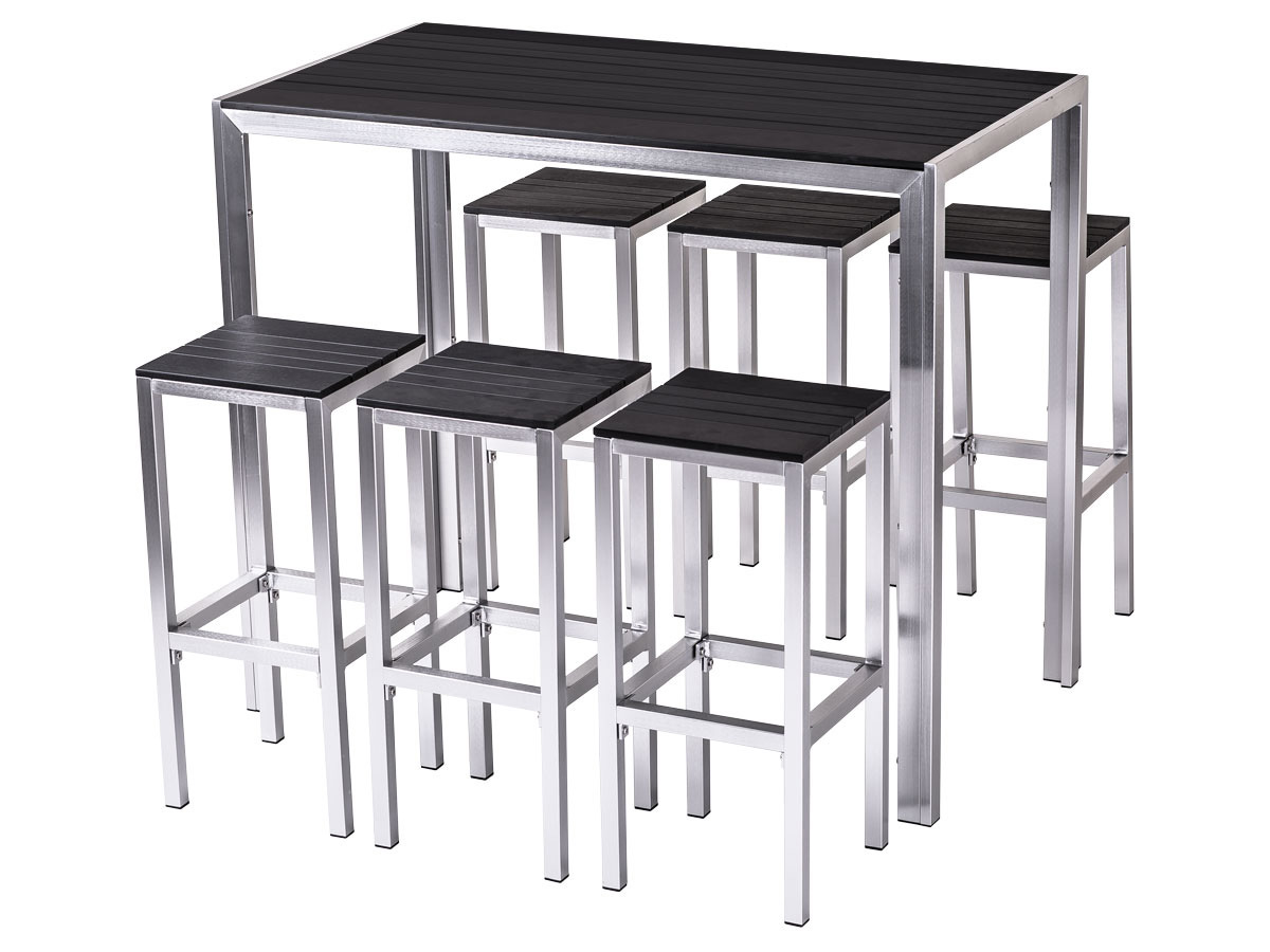 bar de jardin m tal tenerife seychelles noir 68343. Black Bedroom Furniture Sets. Home Design Ideas