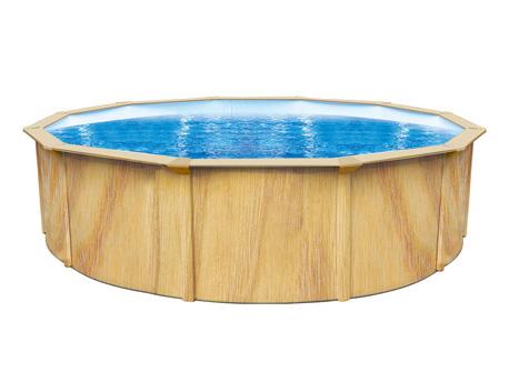 """Piscine acier ronde aspect bois """"Punta cana"""" - Ø 4.60 x 1.20 m"""