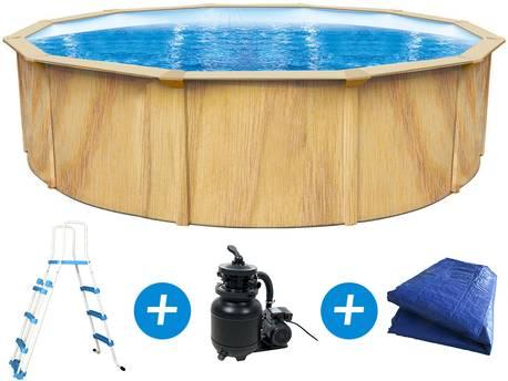 """Piscine acier ronde aspect bois """"Punta cana"""" - Ø 5.50 x 1.20 m"""