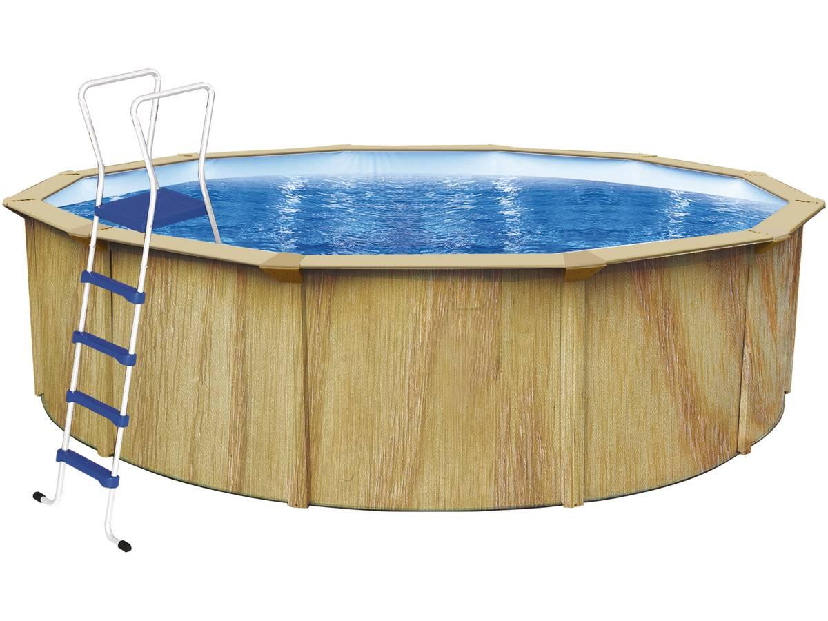 Piscine acier ronde aspect bois punta cana 3 6 x 1 for Piscine acier aspect bois
