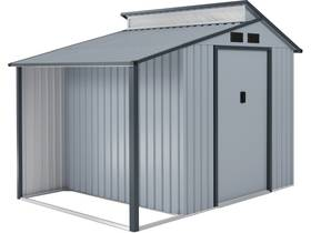 "Abri de jardin métal avec pergola ""Madras"" - 5.64 m² - 193 x 292 x 229 cm - Gris"