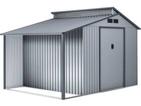 "Abri de jardin métal avec pergola ""Madras"" - 9.12 m² - 355 x 257 x 237 cm - Gris"