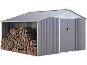 "Abri de jardin métal ""Dallas"" 12,99 m² avec abri bûche"
