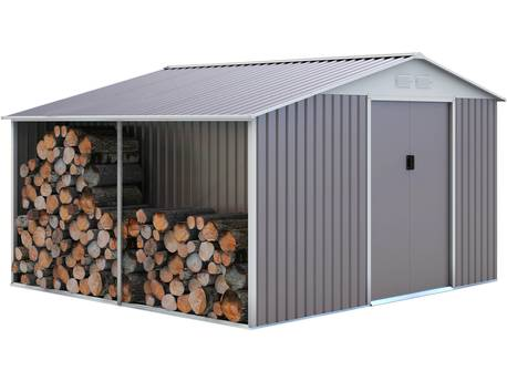 "Abri de jardin métal ""Dallas"" 8,84 m² avec abri bûche"