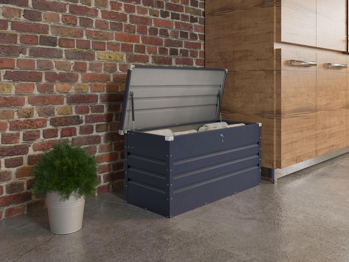 coffre jardin store m tal 480 l 132 x 61 x 60 cm gris 93216. Black Bedroom Furniture Sets. Home Design Ideas